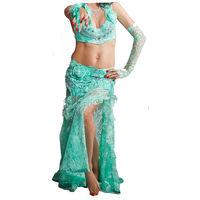 Сценический костюм для беллиданс (юбка, бюстье, полуперчатка), кружево, бирюза, расшит камнями, на 40-42 р-р
