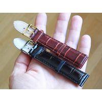 2 ремешка кожаных (20 мм) для наручных часов, с выделкой под крокодила.