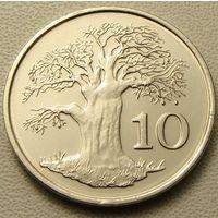 Зимбабве. 10 центов 1999 год KM#3
