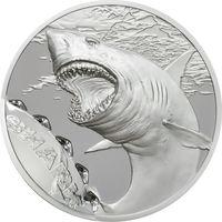 """RARE Палау 10 долларов 2017г. Первая монета серии: """"Следы от укусов: Белая акула"""". Монета в капсуле; подарочном футляре; номерной сертификат; коробка. СЕРЕБРО 31,135гр.(1 oz)."""