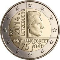 2 евро 2014 г. Люксембург 175 лет нации. UNC из ролла