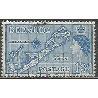Бермуды. Королева Елизавета II. Карта. 1953г. Mi#142.