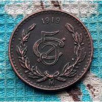 Мексика 5 центов песо 1919 года. Орел.
