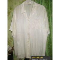 Блузка белая в атласную полоску р.52-54