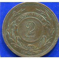 Уругвай 2 сентесимо 1869 H