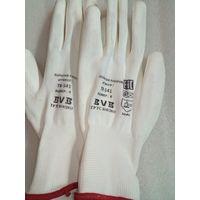 Перчатки белые из полиэстера с белым ПУ покр. на ладони, размер 9-10 модель: TR-541