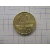 Литва 20 центов 2008г.km107
