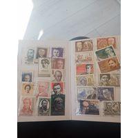 Лот марок и блоков в альбоме времён СССР разных стран и на разную тематику в отличном состояниине с рубля