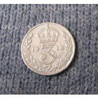 Англия 3 пенса 1918 год