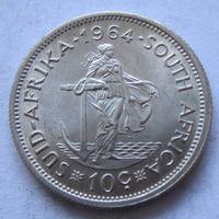 ЮАР 10 центов 1964 - серебро, состояние!