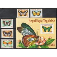 Того Бабочки 1982 год чистая полная серия из 5-ти марок и блока