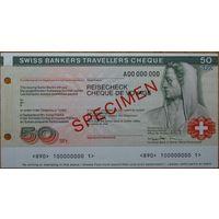 Дорожный чек Швейцария 50 франков. Образец UNC