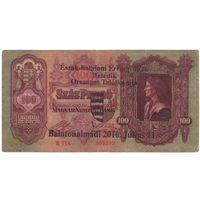 Венгрия 100 пенго образца 1930 года. С НАДПЕЧАТКОЙ. Нечастая! Состояние VF.