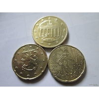 Лот евро монет 2 (1х50 ец + 2х20 ец) Германия, Финляндия, Франция - 1999 - 2002 г.