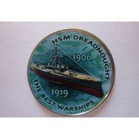 NEW! Зимбабве. 1 шиллинг 2017г. Серия Корабли ВМФ. HMS Dreadnought.