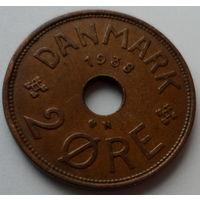 """Дания 2 эре 1938 """"Монограмма короля Кристиана Х"""""""