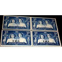 BRITAN ** ~ MNH ~ Красивые чистые марки ~ Две по две сцепки с надпечатками и без ~