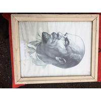 И Ленин такой молодой...портрет вождя неизвестного автора 1969 г. Стоит только подпись.