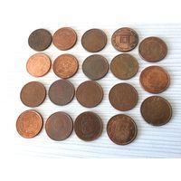 Евроценты без повторов, по 5 центов