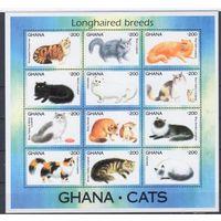 [307] Гана 1994. Фауна.Кошки.  МАЛЫЙ ЛИСТ.