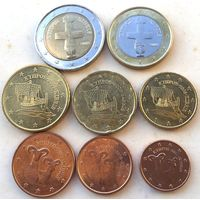 Кипр, полный комплект евромонет одним лотом, 2008 - 2011