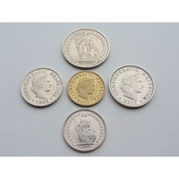 Швейцария.  Набор 5 монет 1, 1/2 Франка  5,10,20 раппен 1982 - 2015 год