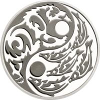 """Острова Кука 5 долларов 2015г. """"Инь-Янь: Медведь и Лосось"""". Black Palladium. Монета в капсуле; сертификат. СЕРЕБРО 31,10гр.(1 oz)."""