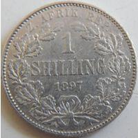 20. ЮАР (ZAR, Трансвааль) 1 шиллинг 1897 год, серебро