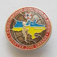 Значок VI чемпионата мира среди пожарных и спасателей Донецк - 2010 ТЯЖ.МЕТ.
