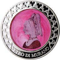 """Конго 1000 франков 2015г. """"Мурано: Розовая Леди"""". Монета в капсуле; подарочной рамке; номерной сертификат; коробка. СЕРЕБРО 62,27гр.(2 oz)."""