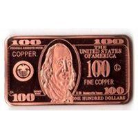 Слиток 100 долларов медь