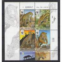 Израиль WWF Леопарды 2011 год чистая полная серия из 4-х марок в квартблоке