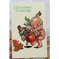В подарок к купленной открытке , книге. Открытка Рождество подписана США