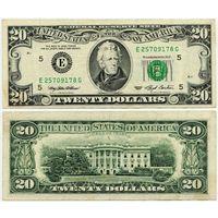 США. 20 долларов (образца 1993 года, E, Вирджиния, P493)