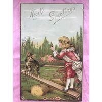 Антикварная открытка Hearly Greetings 1910 год мальчик и котенок