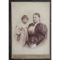 Фото женщины с ребенком. Санкт-Петербург. До 1917 г. 10.5х15.5 см