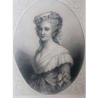MME ELISABETH. Старинная гравюра ПАРИЖ 1860 год. оригинал 27 х18 см.