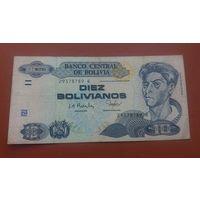 Банкнота 10 песо Боливия 1986