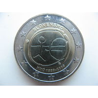 Словакия 2 евро 2009г. 10-летие монетарной политики ЕС (EMU) и введения евро. (юбилейная) UNC!