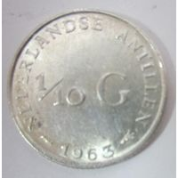 Нидерланды. 1\10 гульдена 1963. Серебро  .122