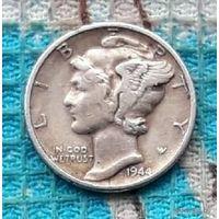 США 10 центов 1944 года. Дайм. II Мировая война.
