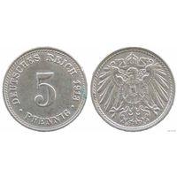 YS: Германия, Рейх, 5 пфеннигов 1913D, KM# 11 (1)