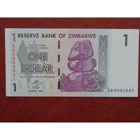 Зимбабве 1 доллар 2007 UNC.