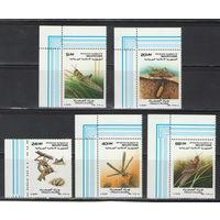 Мавритания Кузнечики насекомые 1988 год чистая полная серия из 5-ти марок
