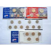 Памятные наборы монет США 2006г. и 2005г.(квотеры)! Сост.- UNC (в запайке). 2 Монетных двора.