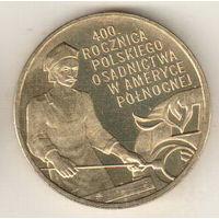Польша 2 злотый 2008 400 лет польским поселениям в Северной Америке
