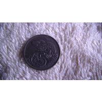 Новая Зеландия 5 центов 1970 Гаттерия (туатара) молодая Королева Елизавета II. распродажа