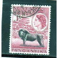 Британские колонии.Кения,Уганда,Танганьика. 1с. Королева Елизавета II. Лев.