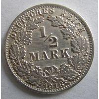 Германия. 1\2 марки 1918 A. Серебро . 109