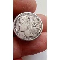 Монета Перу Знак Значок Серебро 1880 1 Песета